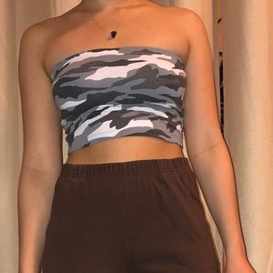 Gray Camo Tube Crop Top